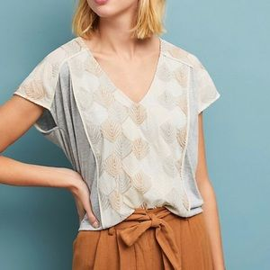 Anthropologie Sea Fan Embroidered Top